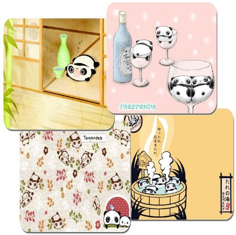 Tare Panda Coasters Set Of 4. High Quality Cork. Japanese Animation Kawaii Cute